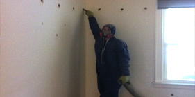 Drill and fill wall with cellulose in 3.5 inches cavities